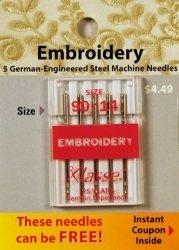 Klasse' Embroidery Needles Size 90/14