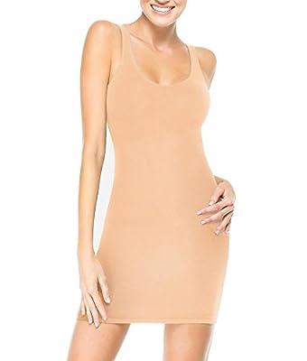 RED HOT SPANX Sleek Slimmers Medium Control Slip, M, In The Nude