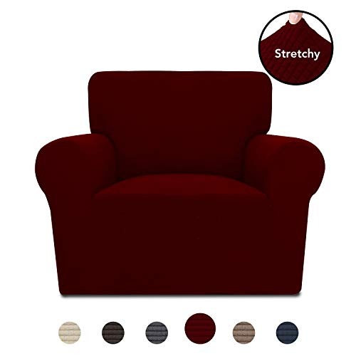 PureFit Stretch Chair Sofa Slipcover - Spandex Jacquard Anti-Slip Soft Couch Sofa Cover, Washable Furniture Protector with Anti-Skid Foam and Elastic Bottom for Kids (Chair, Wine)