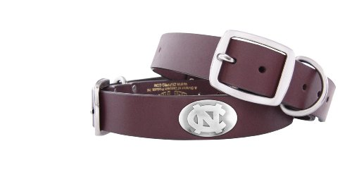 Zep-Pro Brown Leather Concho Pet Collar, North Carolina Tar Heels, Large