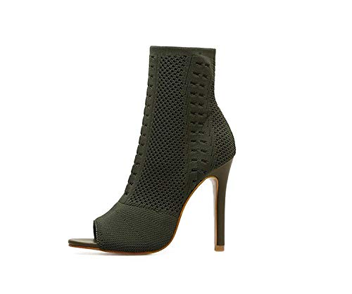 Nice Style Shine-Hearty-Heeled-Sandals Womens Boots Green Knit Sock Boots Ladies Open Toe High Heels Ankle Boots Women,9MUS,Green