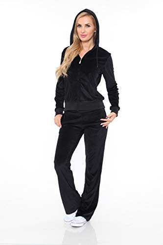 Velour Hoodie Pants - White Mark Women's Athletic Soft Velour Zip-Up Hoodie & Sweat Pants Set Jogging Suit in Black - Small
