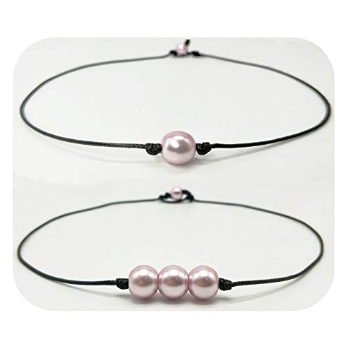 Hundred River Pearl Choker Necklace Single Leather for Women (purple1 purple3) -