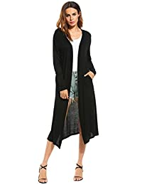 Meaneor Women's Pocket Long Sleeve Basic Soft Knit Cardigan Sweater