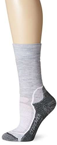 Icebreaker Women's Hike+ Medium Crew Socks, Blizzard Heather/White/Oil, Medium