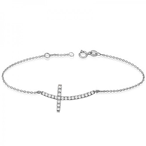 Women's Diamond Modern Sideways Curved Christian Cross Ankle Bracelet 14k White Gold 0.50 ct