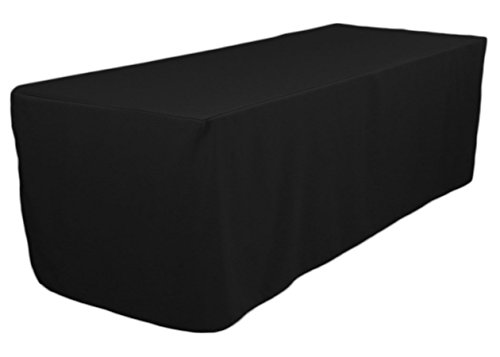 (TEKTRUM 8-Feet Long Fitted Table DJ Jacket Cover for Trade Show - Thick/Heavy Duty/Durable Fabric - Black Color (TD-JKT-BLK-8FT))