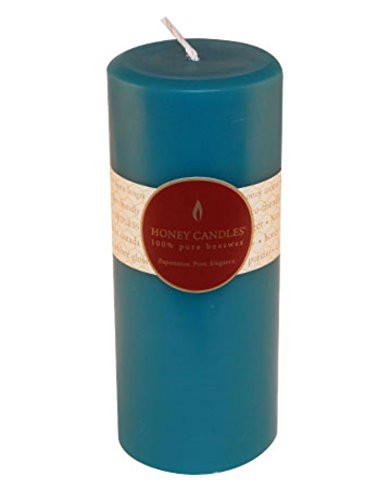 Honey Candles Pure Beeswax 7'' Pillar - Glacier Teal