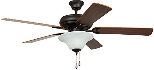 French White Fan Blades - Litex E-DCF52FBZ5C1 Decorator's Choice 52-Inch Ceiling Fan with Five Reversible Mahogany/Dark Oak Blades and Single Light Kit with Alabaster Glass