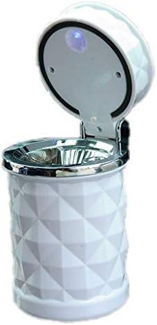灰皿 , LEDライト付き灰皿付きステンレススチールダイヤモンド灰皿、自動車インテリア用クリエイティブメタル灰皿 (色 : White)