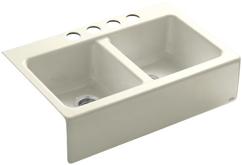 Kohler K-6534-4U-FD Hawthorne Apron-Front, Undercounter Kitchen Sink with Four-Hole Oversized Centers, Cane Sugar (Center Sugar Bowl)