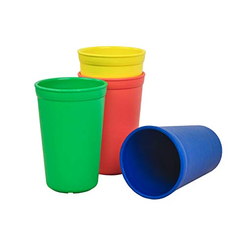 Re-Play Made in The USA 4pk Drinking Cups for Baby and Toddler - Red, Yellow, Kelly Green, Navy Blue (Primary+)