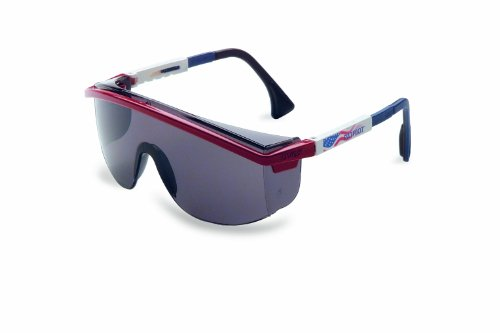 Gray Temples Frame - Uvex S1179C Astrospec 3000 Safety Eyewear, Red/White/Blue Frame, Gray UV Extreme Anti-Fog Lens