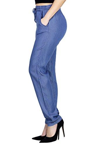 Womens Fashion Light Denim Jogger Jean Pants Draw String Elastic Waist and Hem (SMALL, DENIM-L26778P)