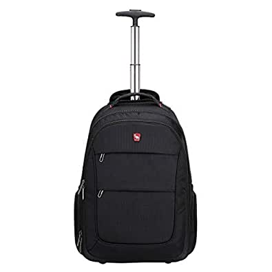 OIWAS Rolling Backpack with Wheels 20 Inch School College Book-Bag Laptop Travel Carry on Rucksack Luggage 30L Black
