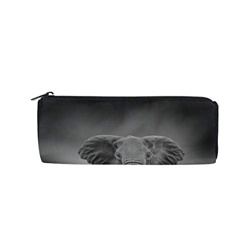 (Huge Grey Elephant with Two Ivory Students Super Large Capacity Barrel Pencil Case Pen Bag Cotton Pouch Holder Makeup Cosmetic Bag for Kids)