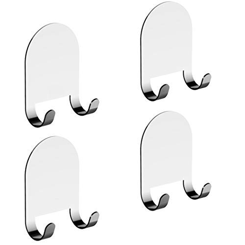 - 3M Adhesive All-Purpose Hooks by HOME SO - Heavy Duty Hook Hanger Sticks Anywhere - Holds Anything, Towels, Keys, Coats, Loofahs, Wreath, Jacket, Hat, Clothing - Pack of 4 (Stainless Steel Chrome)