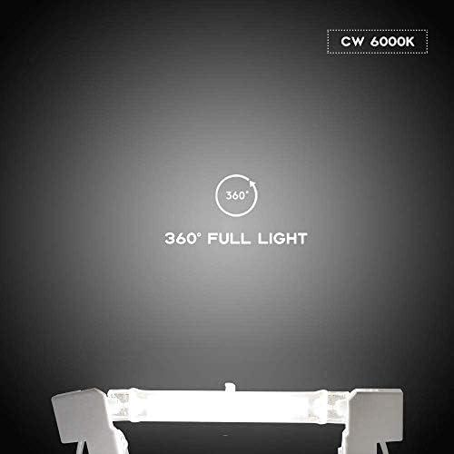 COMY Dimmbare R7S LED Glühbirnen 10W 78mm Keramik Glas COB Filament Röhre Leuchtmittel 360° Abstrahlwinkel - Ersetzt 100W Halogenstablampe, 5er Set (Kaltweiß 6000k)