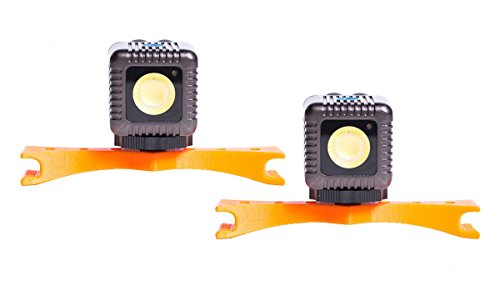 Lume Cube Drone Mount Kit for Autel Robotics X-Star Drone with Microfiber Cleaning Cloth (2 Gunmetal Grey Cubes/2 Orange Mounts)