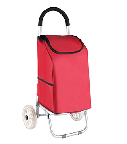 G&M Two-wheel Folding Shopping Cart, Waterproof Insulation Shopping Bag Aluminum Alloy Cart Grocery with Wheel Bearings , red by RulNet