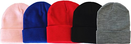 MJ Boutique 120 Pieces Per Case Bulk Beanie Hats Wholesale Children Beanie Caps (Assorted-Beanie (Kids)) by MJ Boutique