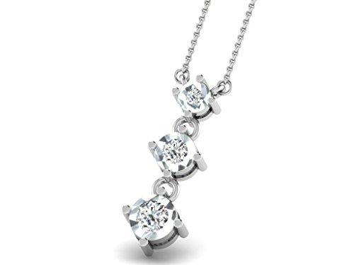 Or Blanc 14 ct Pendentifs Diamant , 0.04 Ct Diamant, GH-SI, 0.74 grammes.