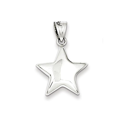Sterling Silver 18mm Polished Puffed Star Pendant Sterling Silver Puffed Star