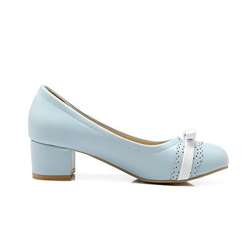 Amoonyfashion Donna Tacco Basso A Spillo Colore Assortito Tacco A Spillo Scarpe-scarpe Blu