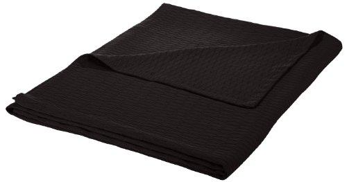 Superior Full/Queen Blanket 100% Cotton, for All Season, Diamond Design, Black