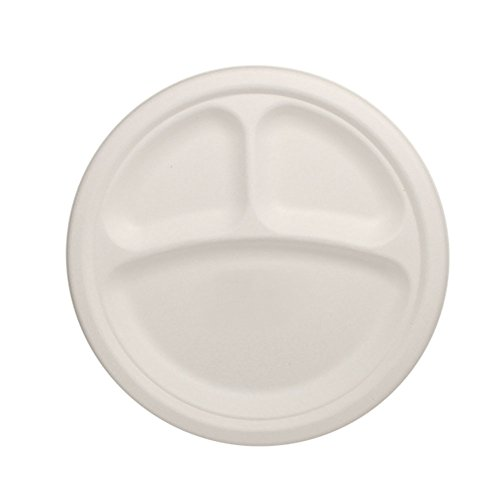 Lollicup KE-BPR10-3C Karat Earth Bagasse Plate, Round, 3-...
