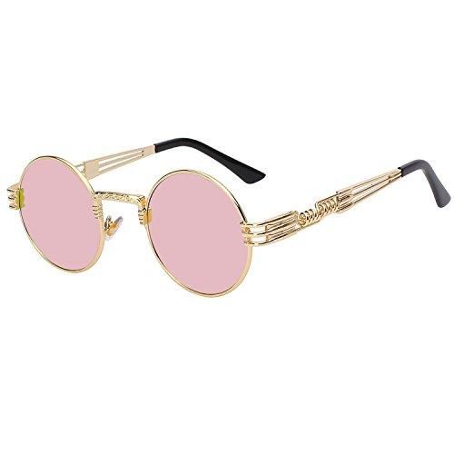 Sunglasses Retro for Men Women Round UV400 (Gold Frame Pink mirror - Reading Glasses Steampunk