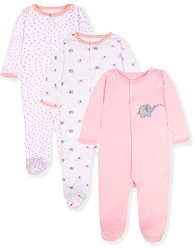 nt Boys' and Girls' 3 Pack Cotton Snap Sleep & Play Set w/Footies, 6-9 Months, Elephant ()