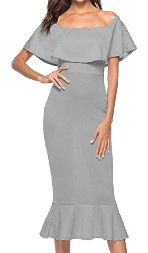 Ruffle Fishtail Package Hip Jaycargogo Tunic Shoulder Gery Women's Off Stylish Dress 648pW8qTOw