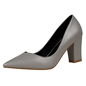 T&Mates Womens Retro Pointed Toe Slip-on Low Top Block Chunky Heel Patant Leather Pump Shoes (6 B(M)US,Gray)