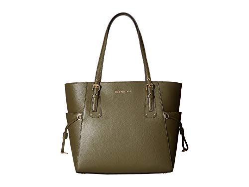 (Michael Kors Voyager Textured Crossgrain Leather Tote- Olive)