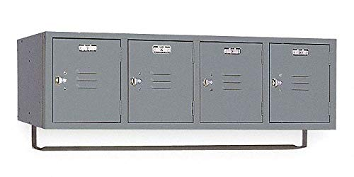 "Dove Gray Wall Mount Box Locker, (4) Wide, (1) Tier, Openings: 4, 45"" W X 18"" D X 13-3/4"" H"