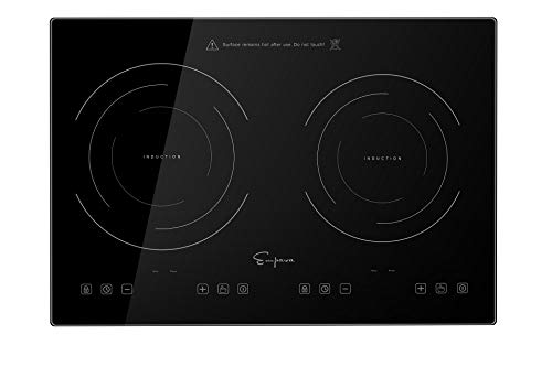 Empava IDC12B2 Horizontal Electric Stove Induction Cooktop with 2 Burners in Black Vitro Ceramic Smooth Surface Glass 120V