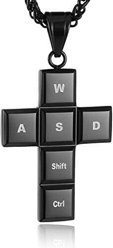 HAMANY Gaming Keyboard Cross Edelstahl Anhänger Halskette
