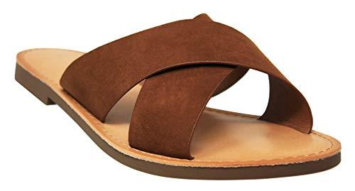 MVE Shoes Women's Strappy Flats Summer Shoes - Faux Leather Slip On Sandals - Criss Cross Slide Sandal, Cognac ISU Size 7