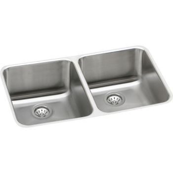 Elkay ELUH311810DBG Gourmet Stainless Steel Kitchen Sink Lustrous Highlighted Satin 2 Basins by Elkay by Elkay