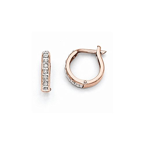 ICE CARATS 14k Rose Gold Diamond Fascination Round Hinged Hoop Earrings Ear Hoops Set Fine Jewelry Ideal Mothers Day Gifts For Mom Women Gift Set From Heart (Gold Heart Diamond 14k Earrings)