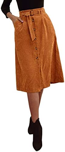 ebossy Women's Button Front High Waisted Corduroy A-Line Midi Skirt with Belt