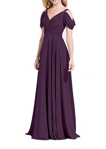 V Ausschnitt Dunkel A Charmant Lang Traube Linie Damen Abendkleider Chiffon Grau Partykleider Abschlussballkleider qIBWxtCw