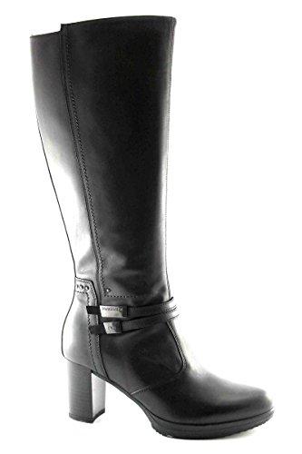 BLACK JARDINES 616,412 mujeres botas negras de tacón cremallera cuerdas Nero