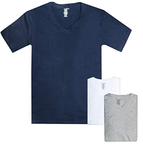 Lucky Brand Men\'s V-Neck Cotton Undershirt T-Shirt (3 Pack) (Medium, Navy/Grey/White)'
