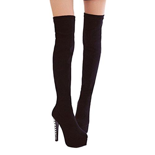 ENMAYER Mujeres Stretch tela Tacones altos sobre la rodilla Plataforma Slip-on Rhinestones Botas de invierno Negro