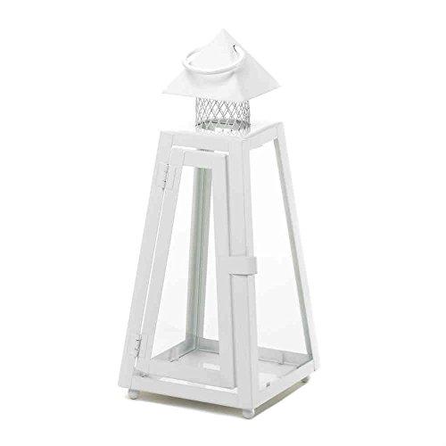 2 Modern White Finish Metal Candle Votive Pillar Candle Lanterns Lamps ()