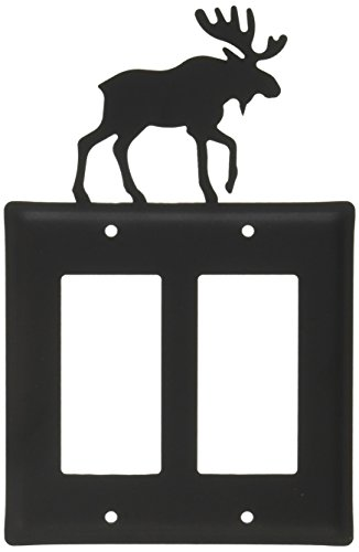 Cover Light Switch Moose (Village Wrought Iron 8 Inch Moose Double GFI Cover)