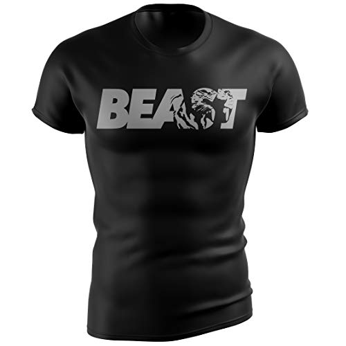 Beast Gym T-Shirt for Bodybuilders 100% Made in USA Motivational Bodybuilding Tee, Large