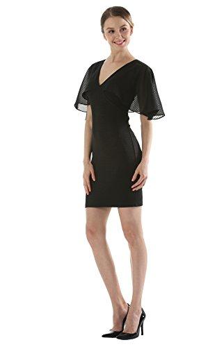 Courte Elégant Col Acvip V Dress Party Robe Noir Soirée Femme IwTqTtxS5